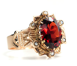 Garnets & Gold in a Victorian Ring