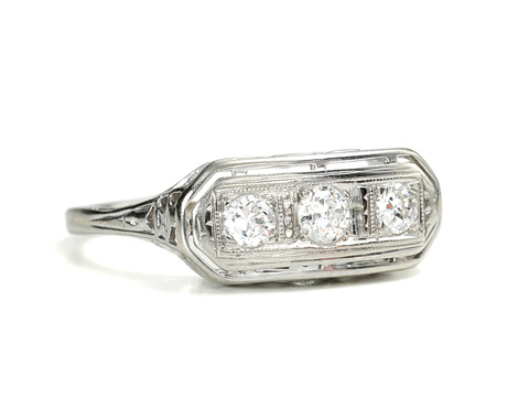 1930s Styling in a Three Stone Diamond Ring
