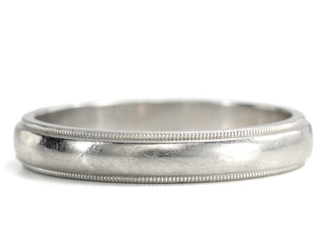 Tiffany Man's Platinum Milgrain  Wedding  Band