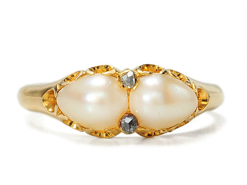 Sensuous 19th Century Natural Pearl & Diamond Antique Ring