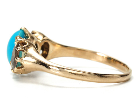 Turquoise & Peridot Three Stone Ring