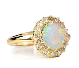 Kaleidoscope of Color: Antique Opal Diamond Ring
