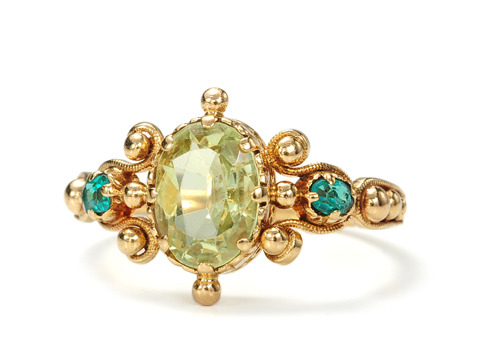 Strike It Rich: Antique Peridot & Emerald Ring