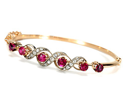 Luscious Edwardian Ruby Diamond Bangle
