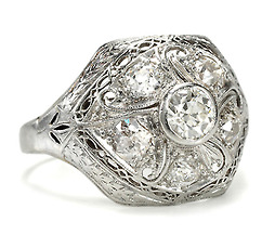 Antique Edwardian Platinum Diamond Dome Ring