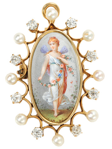 Antique Diamonds & Pearls in an Enamel Pendant Brooch
