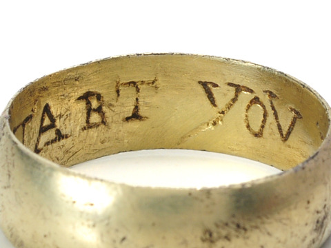 """My Hart You Have"" in a Fire Gilded Posie Ring"