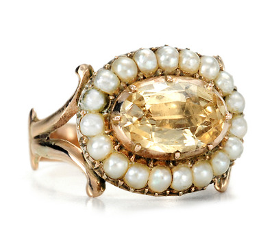 Georgian Antique Topaz Pearl Cluster Ring