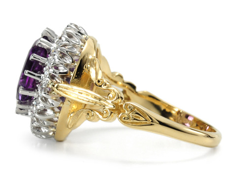 Grand Amethyst & Diamond Cluster Ring