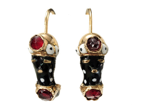 Traditional Antique Blackamoor Enamel Earrings