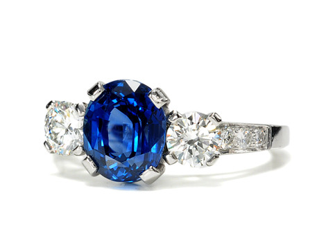 Signed Tiffany & Co. Sapphire & Diamond Ring