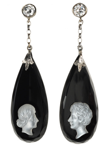 Contrasts Face to Face: Cameo Moonstone & Onyx Earrings