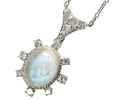 Diamond Carved Moonstone Necklace