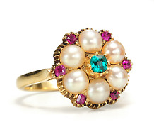 Antique Georgian Spring Flowers: Emerald Pearl Ruby Ring