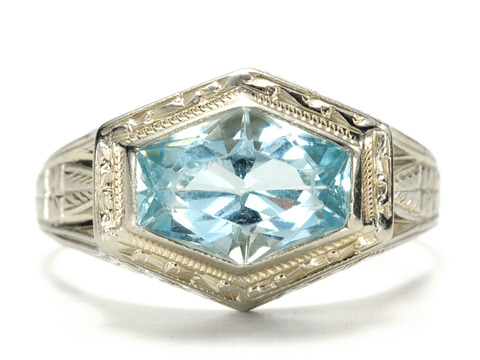 Art Deco Aquamarine  White Gold Ring