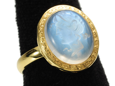 Classical Inspiration: Antique Blue Moonstone Cameo Ring