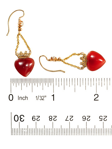 Carnelian Hearts & Diamonds Earrings