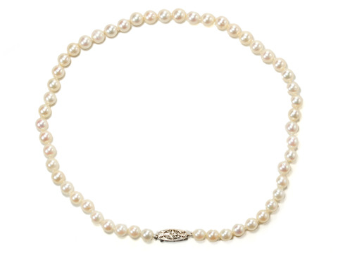 20th C. Phenom: Pearl Necklace with Diamond Clasp