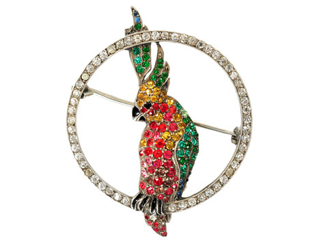 Colorful Art Deco Cockatoo Silver Brooch