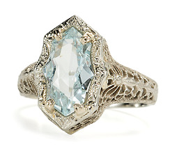 Butterflies are Free - Art Deco Aquamarine Ring