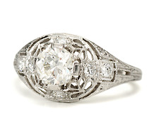 Pinnacle of Antique Lace in a Diamond Platinum Ring