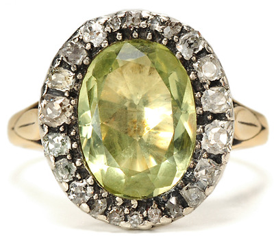 Antique Georgian Goddess: Chrysoberyl  Diamond Ring