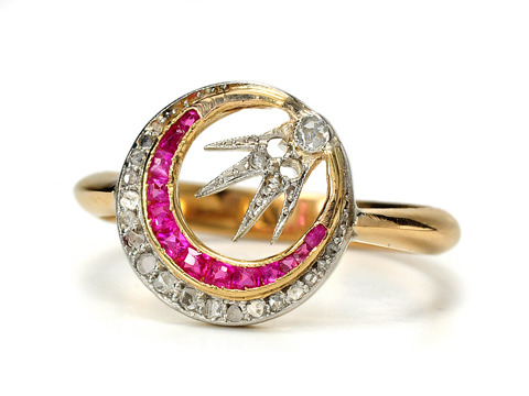 Unusual Flaming Comet Diamond & Ruby  Estate Ring