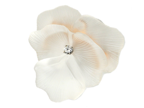 Boucher Pansy Flower Rock Crystal Brooch