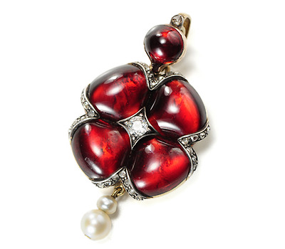 Romantic Victorian Garnet Set Locket Pendant
