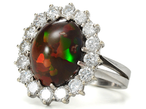Chocolate Opal Diamond Cluster Estate Ring