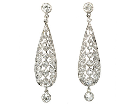 Antique Platinum Diamond Drop Earrings