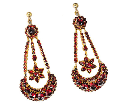 Victorian Moon & Star Bohemian Garnet Earrings