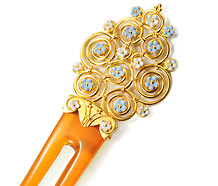 Antique  Enamel Flowered Hair Comb