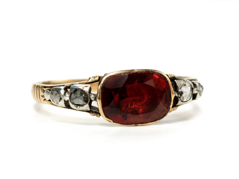 Georgian Antique Glow: Garnet Diamond Ring