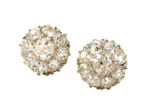 Classic Victorian Diamond Cluster Earrings