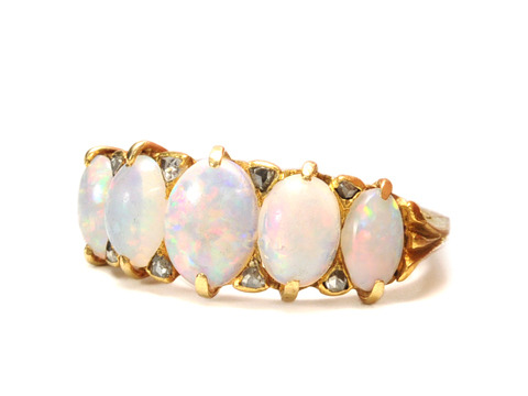 Edwardian Ecstasy: Antique Opal Diamond Ring