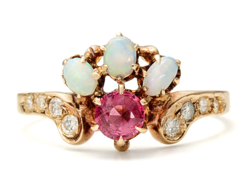 Crowning Glory: Diamond Opal Garnet Ring