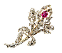 Ruby Diamond Flower Spray Brooch