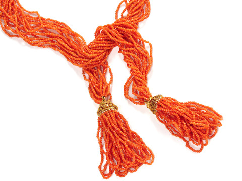 Georgian Coral Tassel Sautoir Necklace