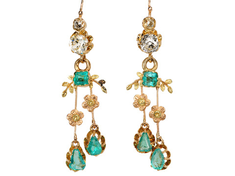 Lush Antique Emerald & Diamond Pendant Earrings
