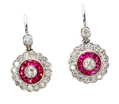 Diamonds & Rubies Oh, My in a Cluster Earring