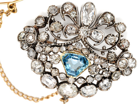 Victorian Diamond & Aquamarine Brooch