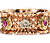 Ornate Retro Vintage Tri Color Gold Eternity Band