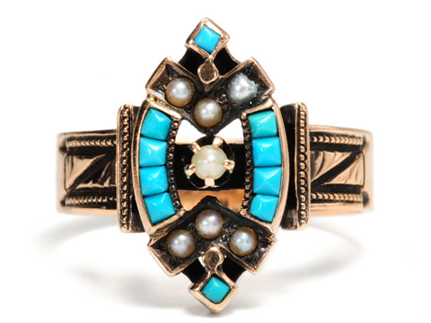 Victorian Kiss: Antique Pearl & Turquoise Ring