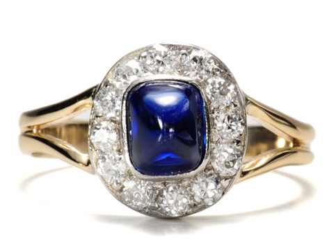 Antique Sugarloaf Sapphire Diamond Ring