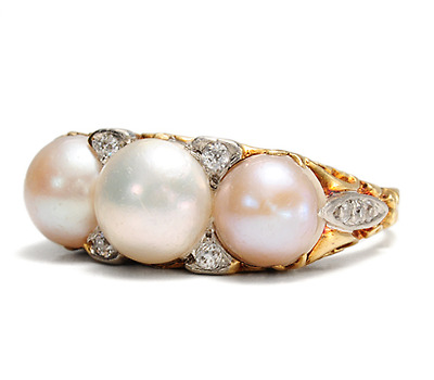 Impressive Natural Pearl & Diamond Ring