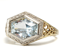 1930s Bling in an Aquamarine Filigree Ring