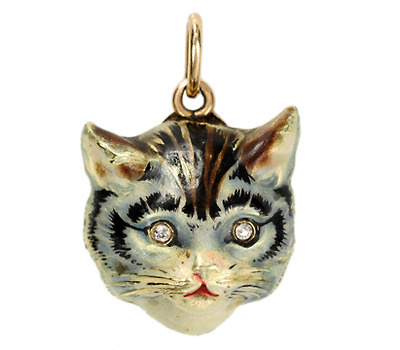 Edwardian Meows: Enamel Gold Cat Pendant