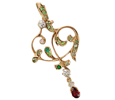 Art Nouveau Nirvana: Demantoid Garnet Pendant