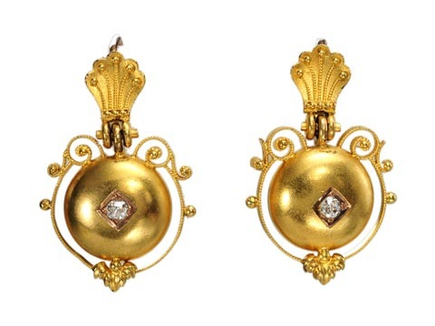 Antique Victorian Gold Earrings with Diamonds